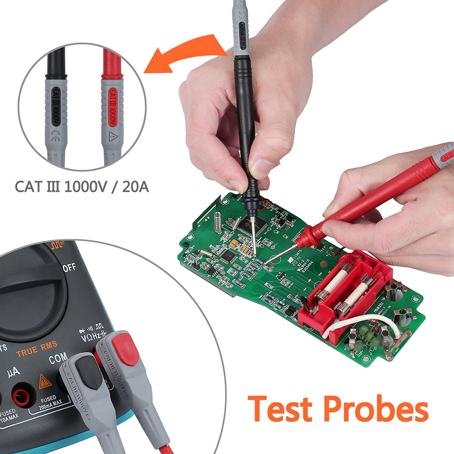 Multimeter Test Leads Kit Multimeter Leads with 8 PCS Probe Pins Alligator Clips And Banana Plug for Multimeter Clamp Meter
