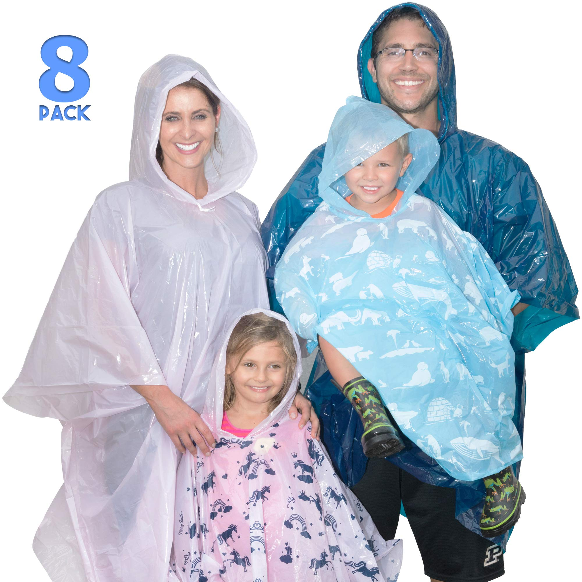 Disposable Rain Poncho Family Pack of 8. Emergency Rain Ponchos- Rain Gear for Hiking, Travel, Parks- Rain Capes Ponchos with 4 Hooded Ponchos for Adults, 4 Kids Ponchos with Fun Designs by Furry Smile