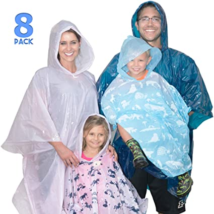 value for money best authentic top fashion Disposable Rain Poncho Family Pack of 8. Emergency Rain Ponchos- Rain Gear  for Hiking, Travel, Parks- Rain Capes Ponchos with 4 Hooded Ponchos for ...