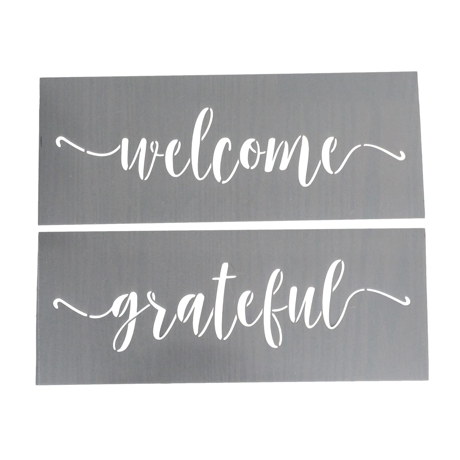 Grateful and Welcome Stencil for Painting on Wood + More - Make a DIY Sign with a Calligraphy Stencil Set - Large Welcome Stencil for DIY Wall Decor - Welcome Stencils and Quote Stencils Are Reusable