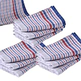 10 Pcs Set, Commercial Grade Vintage Tea Towels Heavy Duty, 100% Cotton, Momi Check Linen, 45cmx80cm, Bigger, Thicker, Better