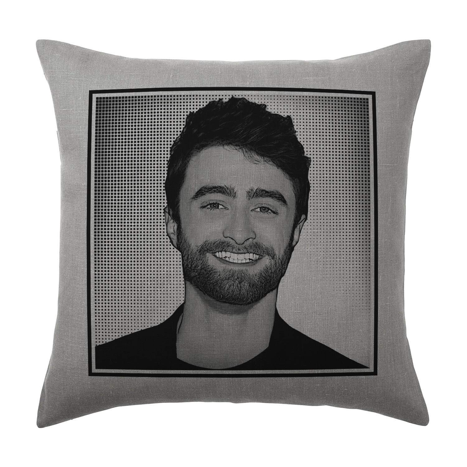 Daniel Radcliffe Cushion Pillow - Silver Grey - Pop Art - 100% Cotton - Available with or without filling pad - 40x40cm (Cover and filling pad) The Stocking Fillers