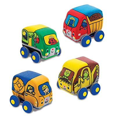 Melissa & Doug Pull-Back Construction Vehicles - Soft Baby Toy Play Set of 4 Vehicles: Toy: Toys & Games