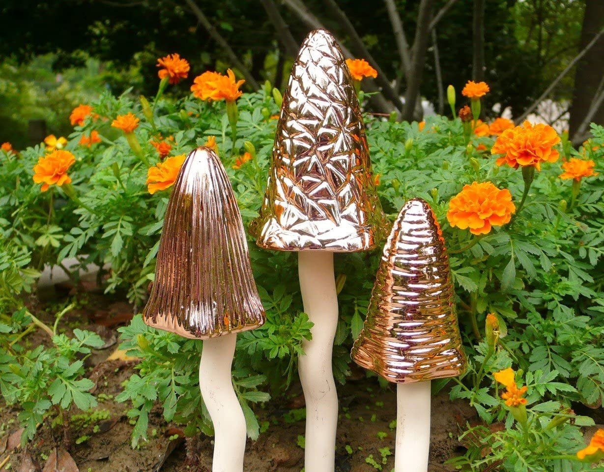 Bosmere Tinkling Toadstools Lawn Ornament, Set of 3 Ceramic Copper, Gift Boxed