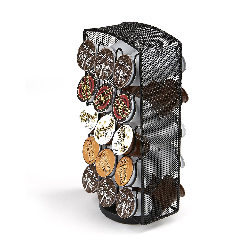 Mind Reader K-Cup Carousel, Holds 30 K-Cups, Coffee Pod Holders, Black Metal Mesh