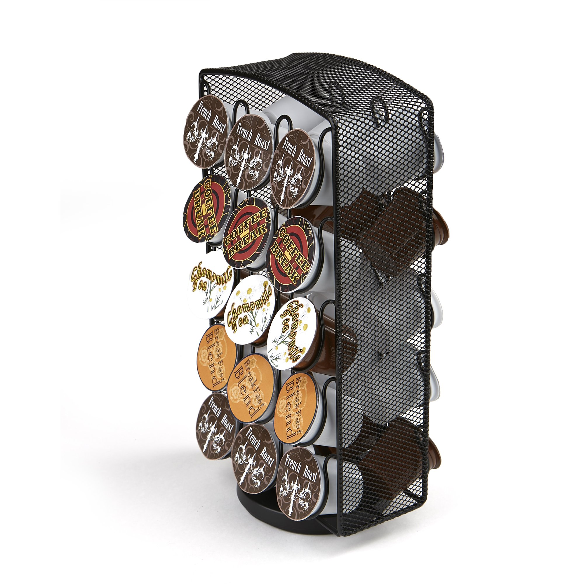 Mind Reader K-Cup Carousel, Holds 30 K-Cups, Coffee Pod Holders, Black Metal Mesh by Mind Reader
