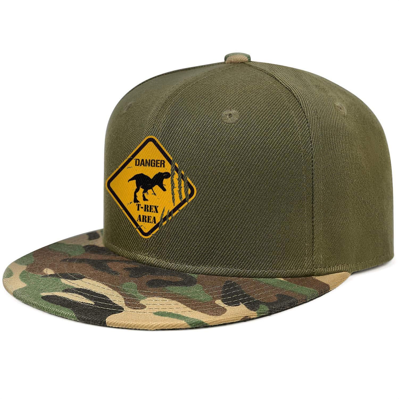 Dinosaur Danger T-Rex Area Unisex Baseball Cap Breathable Running Hats Adjustable Trucker Caps Dad-Hat