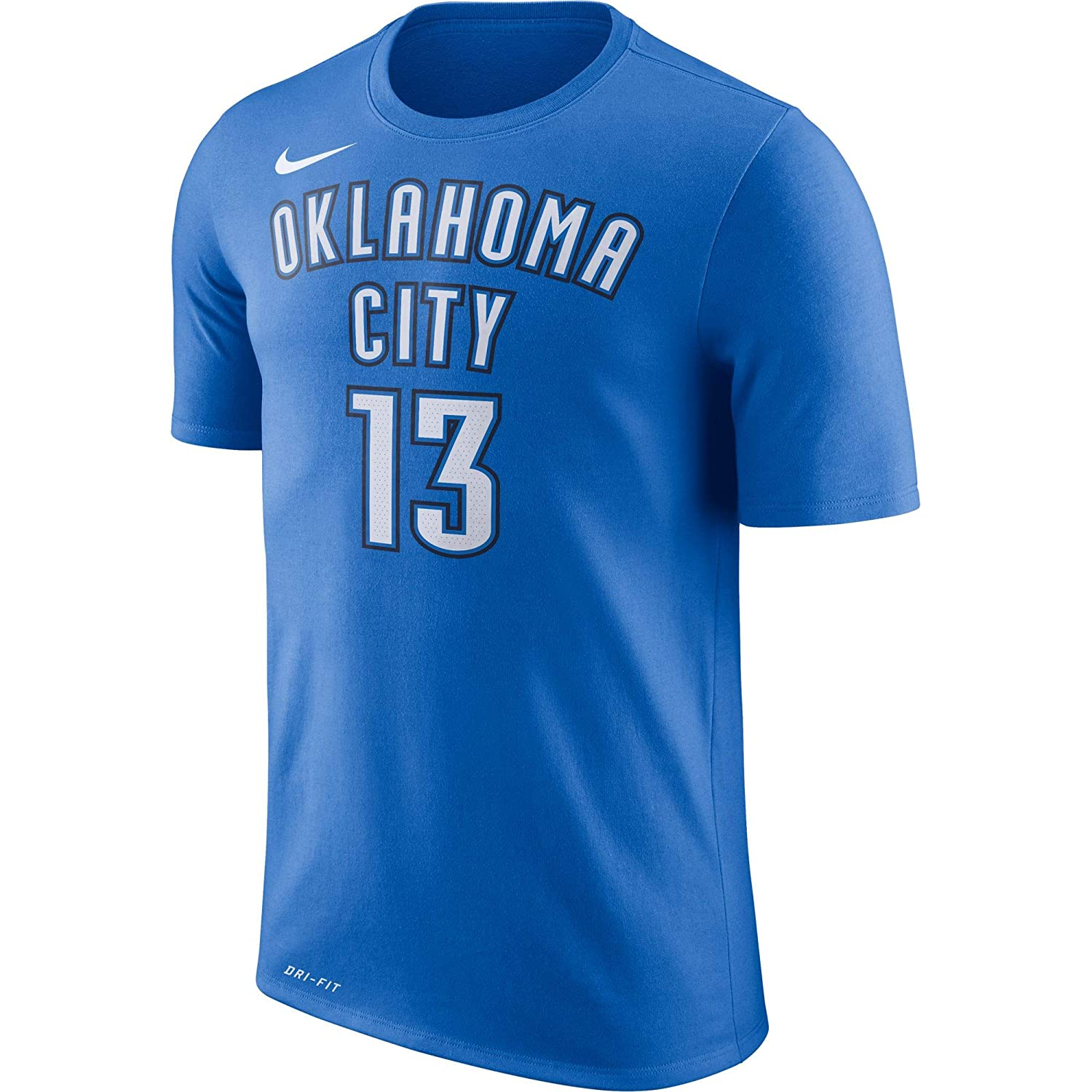 Nike Paul George Oklahoma City Thunder NBA Youth 8-20 Blue Dri-Fit Performance Official Player T-Shirt