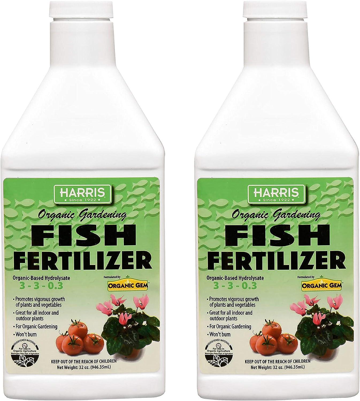 Harris Organic Plant Food and Plant Fertilizer, Hydrolyzed Liquid Fish Fertilizer Emulsion Great for Tomatoes and Vegetables, 3-3-0.3, 32oz (32oz (Quart) 2-Pack)