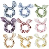 Nine Pastel Bow Scrunchies - Made With Cute Bunny Ears, Chiffon Fabric For A Satin Silk Feel (Pastel)