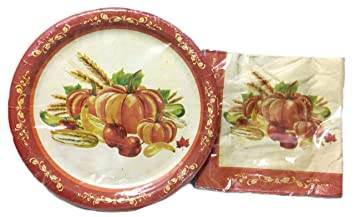 Autumn Harvest/Thanksgiving Decorative Paper Plates and Napkin Set (Fall Harvest)  sc 1 st  Amazon.com : paper plates decorative - pezcame.com