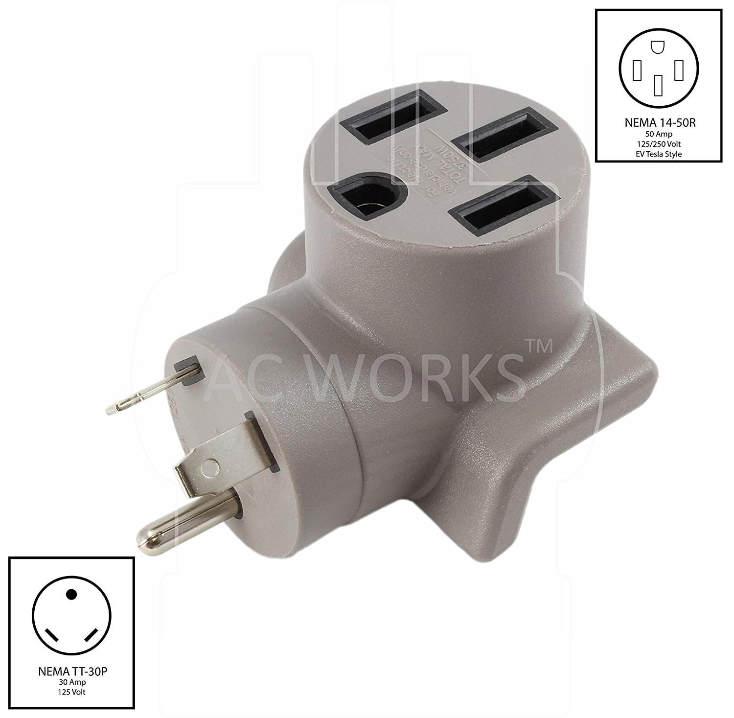 Ac Works Ev Charging Adapter For Tesla Use Tt 30 Rv 30a To 50 Breaker Box Wiring Diagram On Amp 20 Power Out