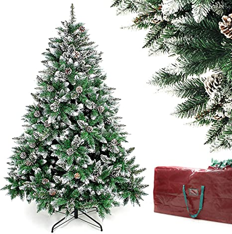 Amazon Com Homde Christmas Tree Artificial Full Xmas Tree 5 6 7 Feet With Bag Flocked Snow Pine Cone 6ft Kitchen Dining