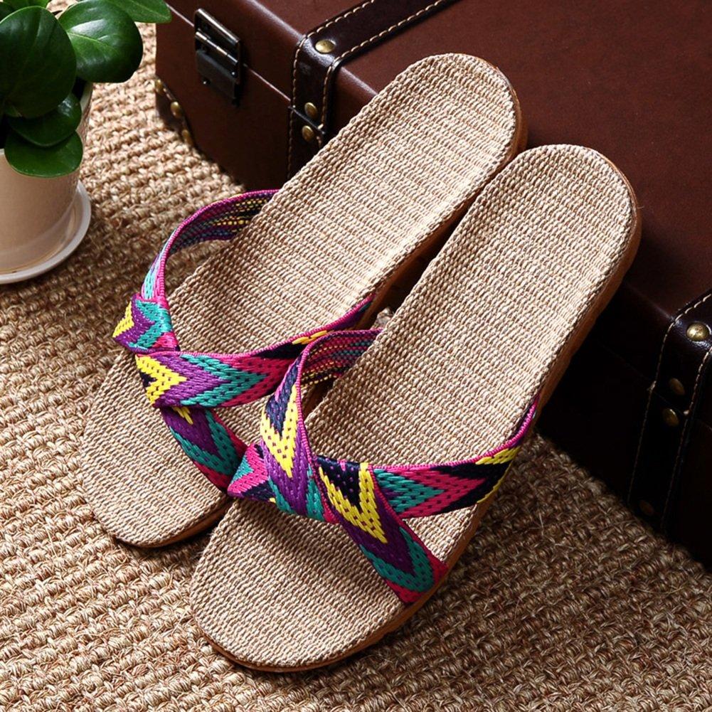AJZGF Ciabattine in lino, ciabatte da uomo e donna per la casa estiva, sandali antiscivolo per interni. (Colore : A, dimensioni : 35-36)