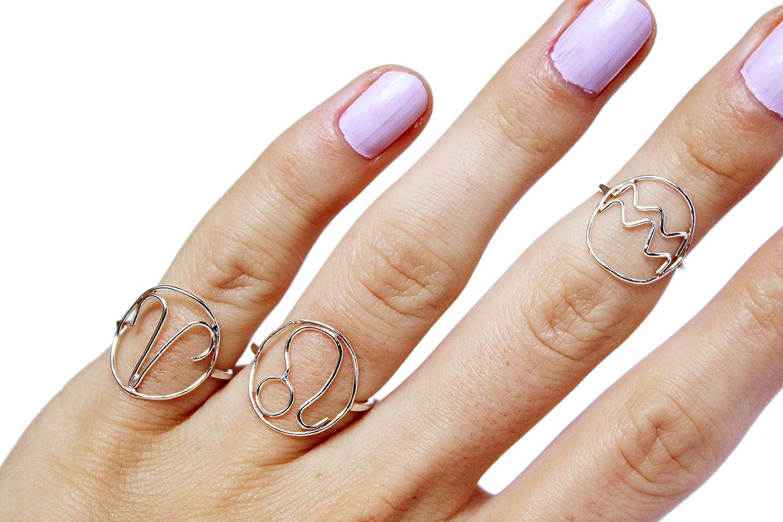 69ff87c1f9a96 Amazon.com: Zodiac Rings, Sterling Silver Ring, Zodiac Jewelry ...