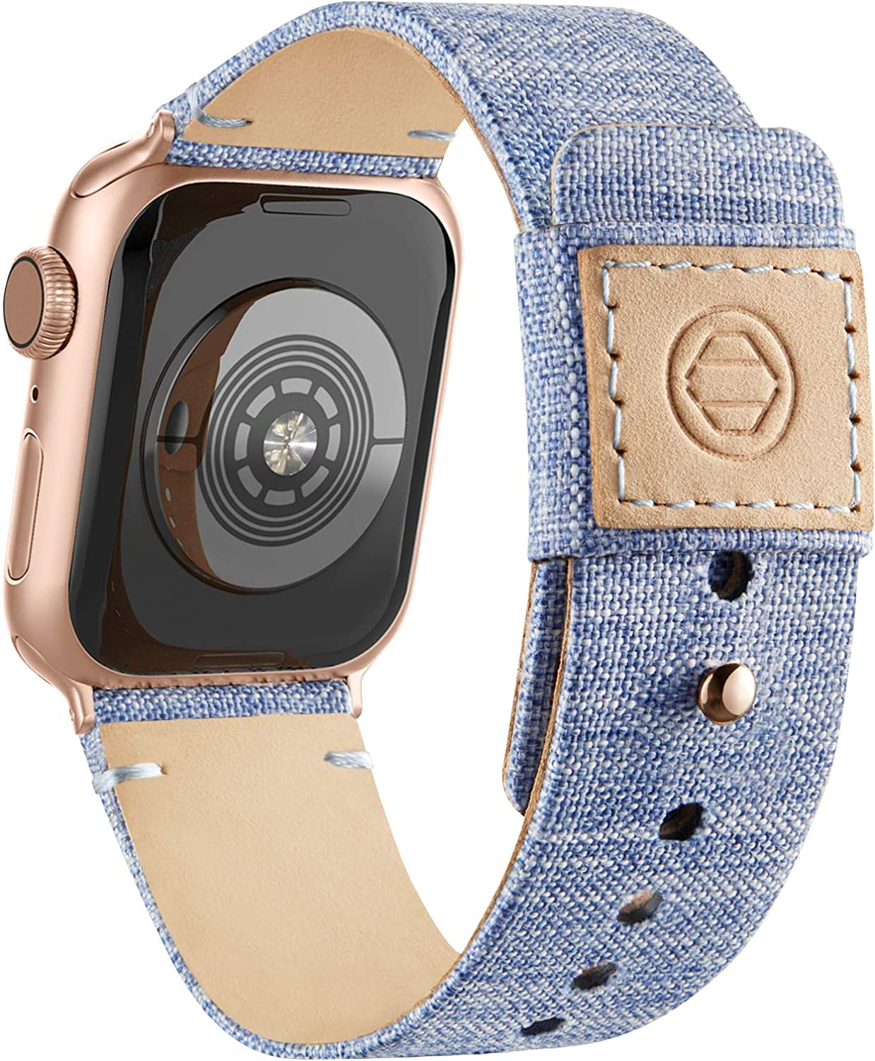 Adepoy Fabric Cloth Bands Compatible with Apple Watch 44mm 42mm 40mm 38mm, Canvas Strap with Soft Genuine Leather Lining and Snap Button for Apple iwatch Series 6/5/4/3/2/1 SE