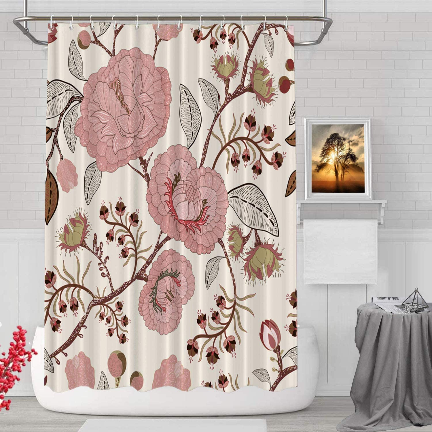 BaoNews Pink Beige Roses Floral Decorative Shower Curtain, Rose Pattern in The Art Nouveau Style Decor Shower Curtain for Shower Stall Bathroom Resistant Waterproof Standard Size 72x72 Inch