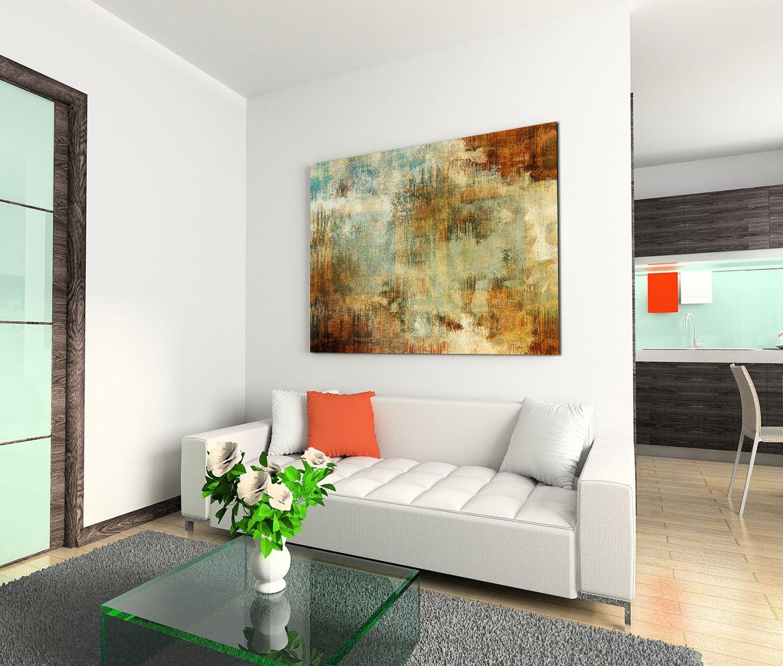 Toile sur ch/âssis 120/x 80/cm peinture acrylique abstrait bleu marron rouge beige sur toile comme panoramique
