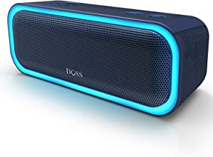 [Upgraded] DOSS SoundBox Pro Portable Wireless Bluetooth Speaker with 20W Stereo Sound, Active Extra Bass, Wireless Stereo Pairing, Multiple Colors Lights, Waterproof IPX5, 20 Hrs Battery Life -Blue