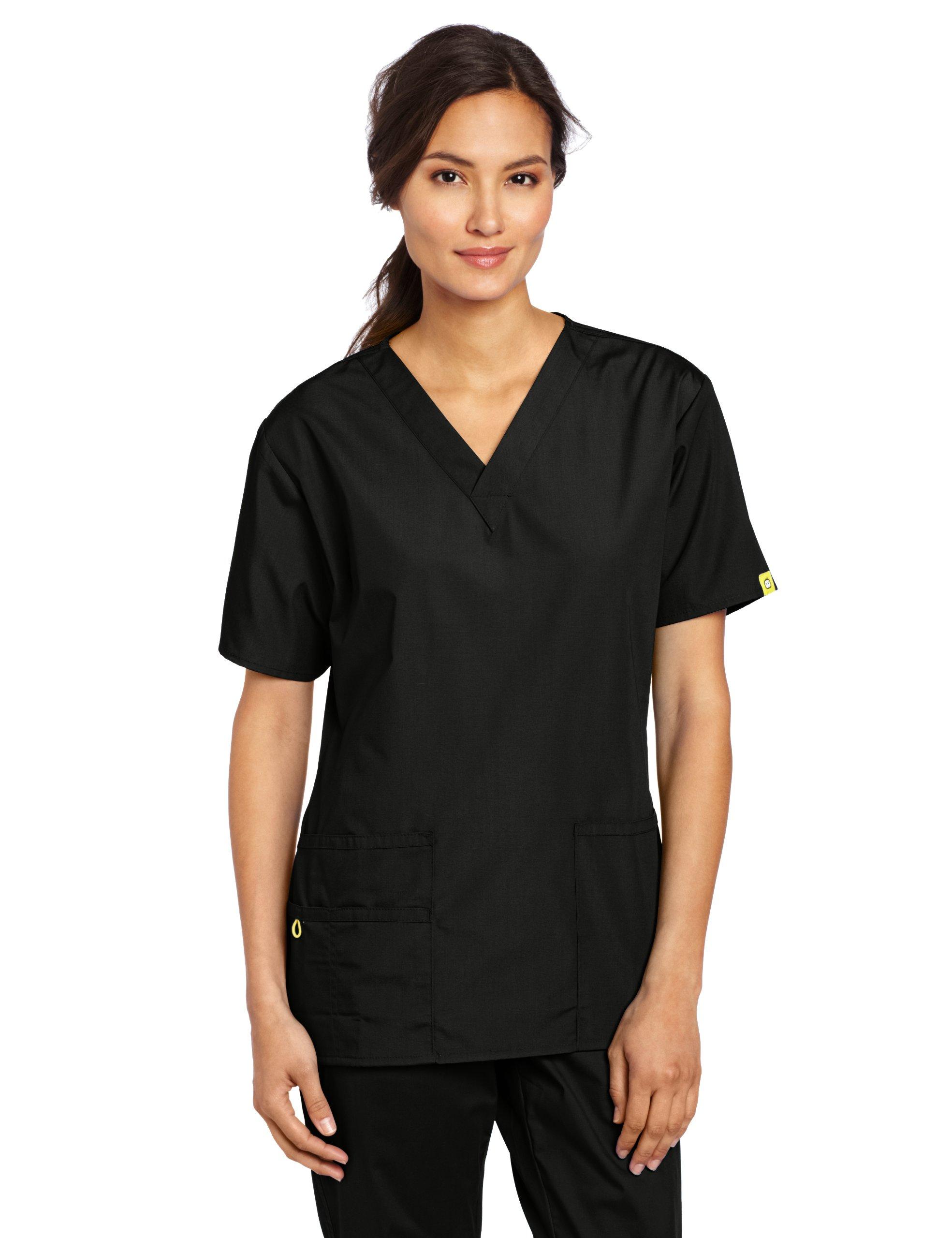 WonderWink Women's Scrubs Bravo 5 Pocket V-Neck Top, Black, Medium by WonderWink