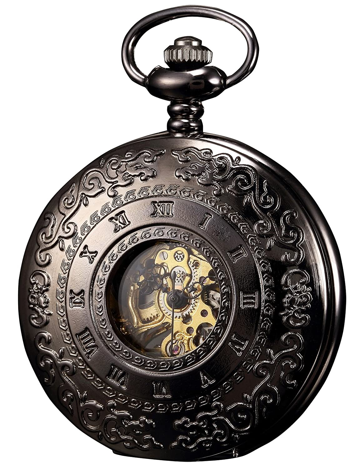 CDM product KS Half Hunter Mechanical Roman Numberals Half Hunter Antiqued Case Pocket Watch small thumbnail image