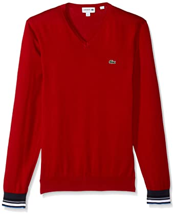 9392127c46e6 Lacoste Men s Semi Fancy Cotton Jersey V Neck Sweater at Amazon ...