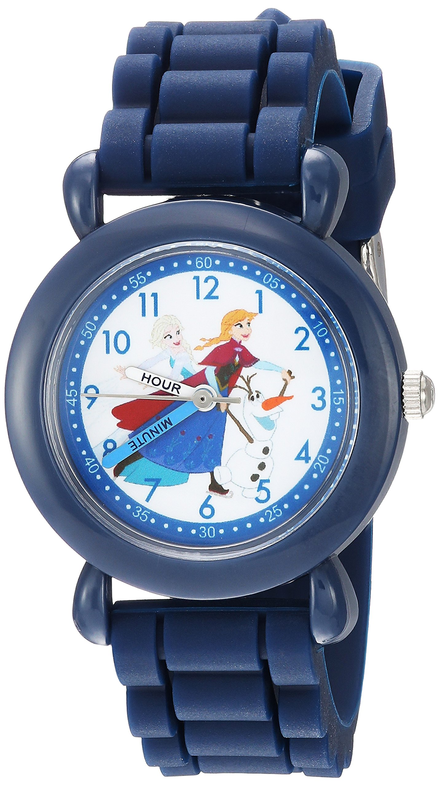 DISNEY Boy's Frozen Elsa' Quartz Plastic and Silicone Casual Watch, Color:Blue (Model: WDS000228)