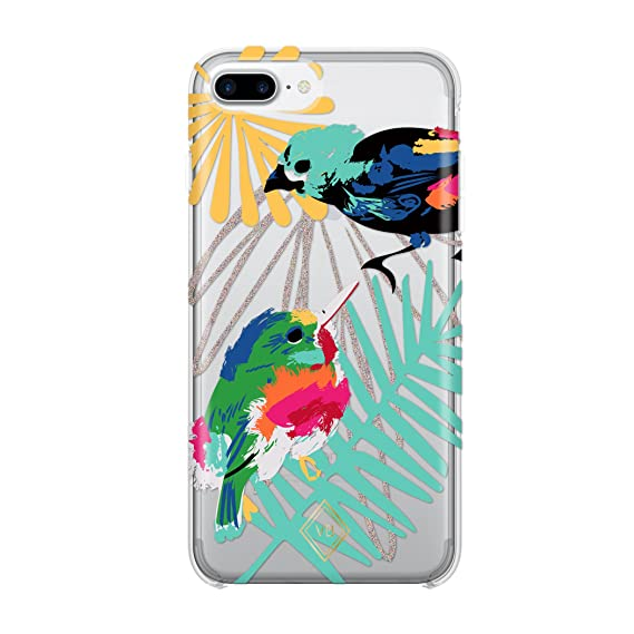the latest d0ad7 93057 Vera Bradley Flexible Frame Case for iPhone 8 Plus, iPhone 7 Plus & iPhone  6 Plus/6S Plus - Mini Birds Multi/Multi Glitter/Clear