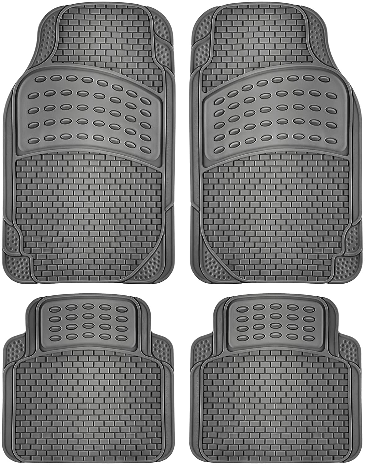 OxGord 4pc Rubber Floor Mats Universal Fit Front Driver Passenger Seat for Car SUV Van and Truck - Brick Style - Black FMPV08A-BK
