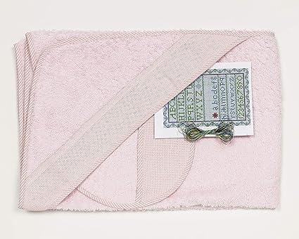 Ti TIN Pack Capa de Baño de Bebé + Capucha + Babero de Punto de Cruz/100% Algodón/Tacto muy suave, Color Blanco, 80x80 cm: Amazon.es: Bebé