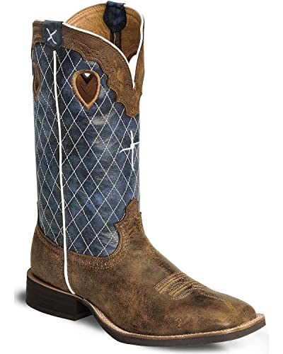 Men's Distressed Ruff Stock Cowboy Boot Wide Square Toe