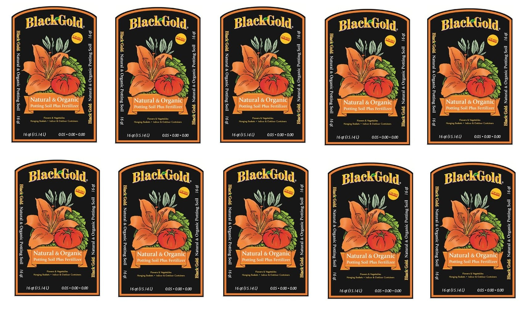 Black Gold 1302040 16-Quart All Organic Potting Soil KOUhfwx, 16 quart bag, 10 bags