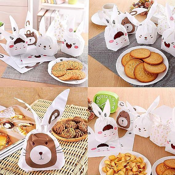 Th-some 50 Pcs Bolsas Regalo Cumpleaños, Bolsa de Caramero Galleta Piscolabis de Conejo, Bolsas Plástico para Frutos Secos, Caramelos, Chocolate LOCN