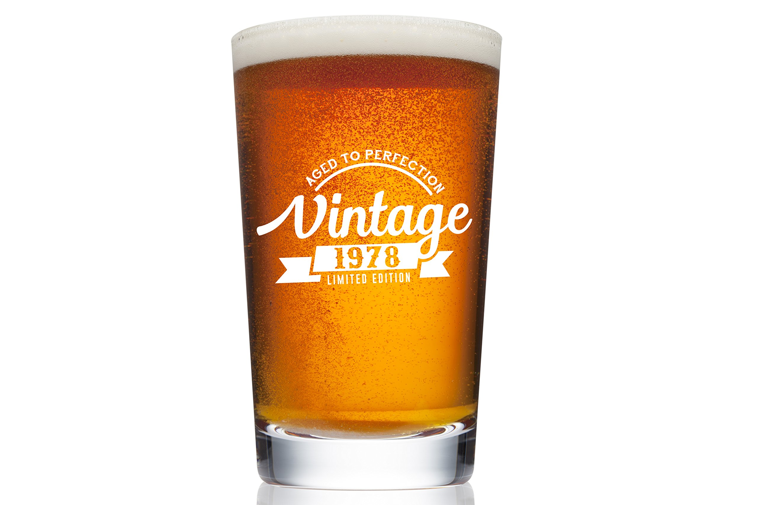 1978 40th Birthday Beer Pint Glass for Men or Women - Vintage Aged To Perfection Party Decorations – Funny Anniversary Gift Idea for Him, Her, Mom, Dad Husband or Wife – 16 oz Craft IPA Bar Mug