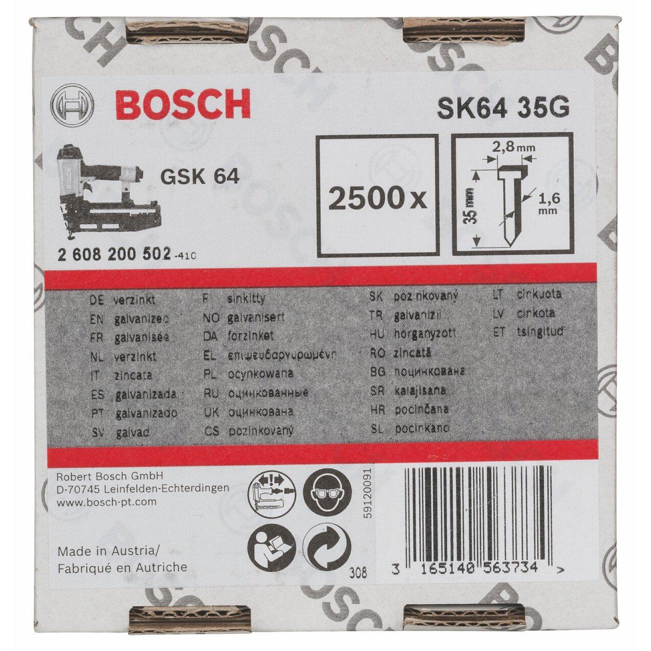 Bosch 2608200502 Chiodo a testa svasata 1,6//16g SK64 35G