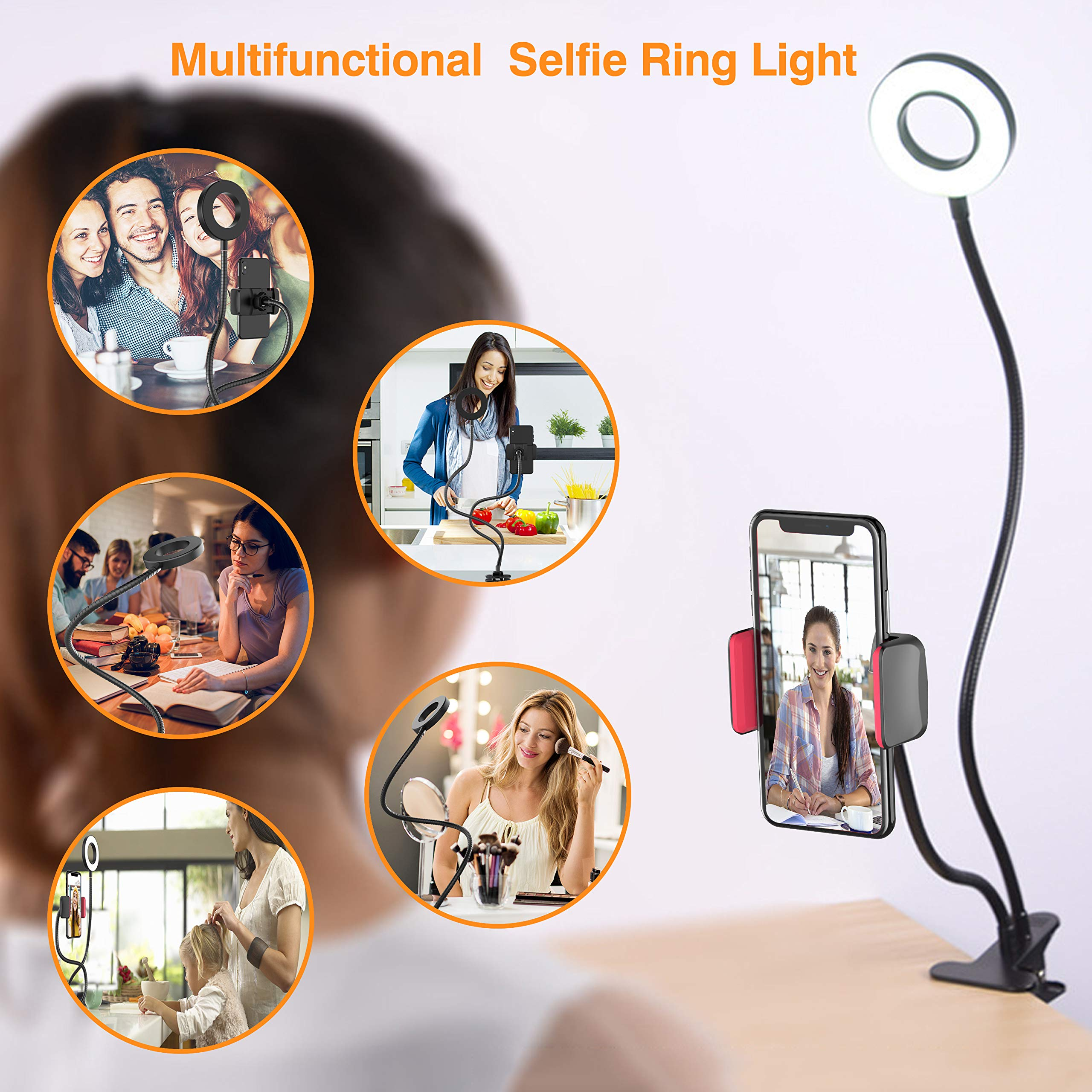 Selfie Ring Light, UPGRADED Selfie Light with Cell Phone Holder Stand for Live Stream Makeup Including Remote Shutter, LED Camera Light 3 Light Mode 10 Level Brightness Flexible Arm for iPhone/Android by Erligpowht (Image #8)