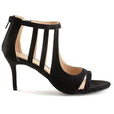 b9ad3f6c166c Brinley Co. Womens Sofia Glitter Open-Toe Cut-Out Caged Heels Black