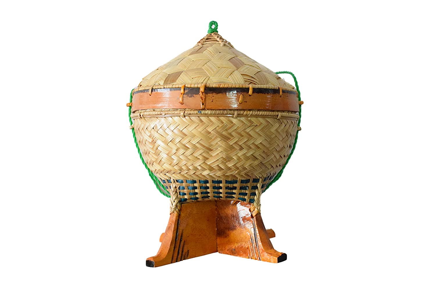 Morafamily Thai-Loas Wicker Sticky rice Bamboo Container Storage Classic Natural Traditional Thailand