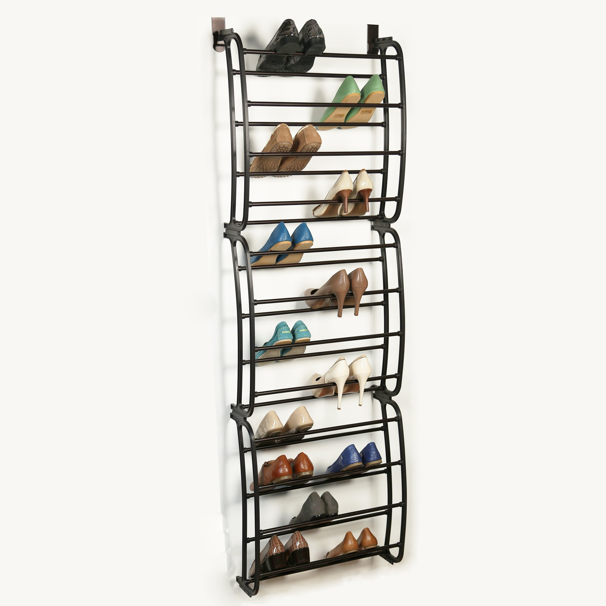 Richards Homewares Over The Over The Door (36 Pair) Over The Rack-36 Shoe Organizer Finish-Metal Tubes-No Tools Required-Easy Assembly-22.9 x 8.1 x 71.2, Bronze by Richards Homewares