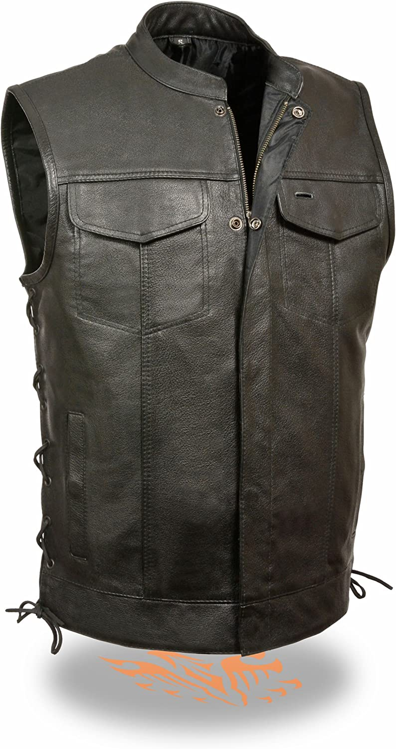 Milwaukee Leather Mens Side Lace Snap//Zip Front Leather Club Style Vest Black, L