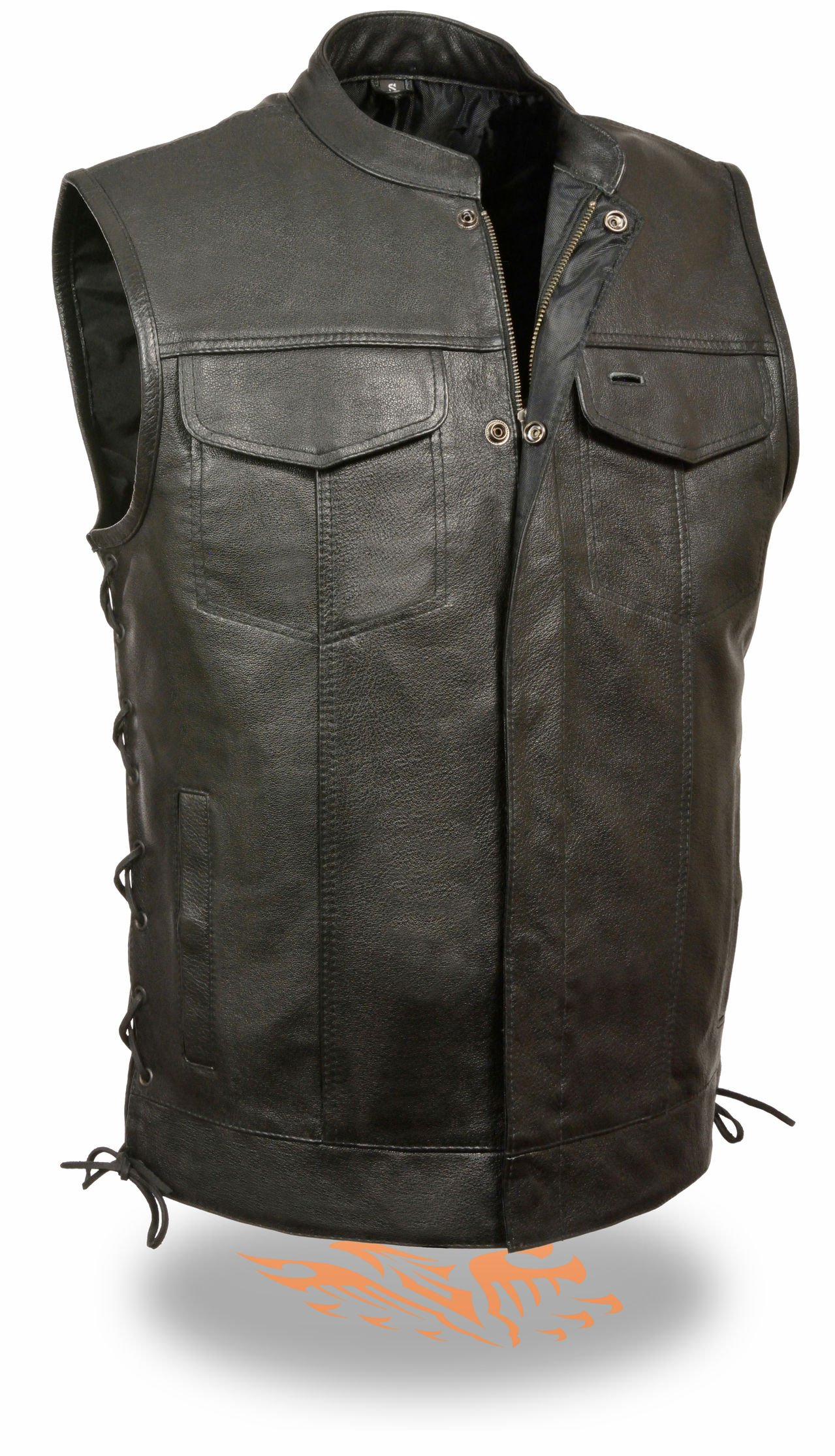 Milwaukee Leather Men's Side Lace Snap/Zip Front Leather Club Style Vest (Black, XL)