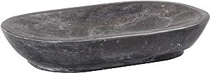 "Creative Home 74816 Genuine Charcoal Marble Stone Soap Dish,Dark Grey,3-7/8"" L x 5-3/4"" W"
