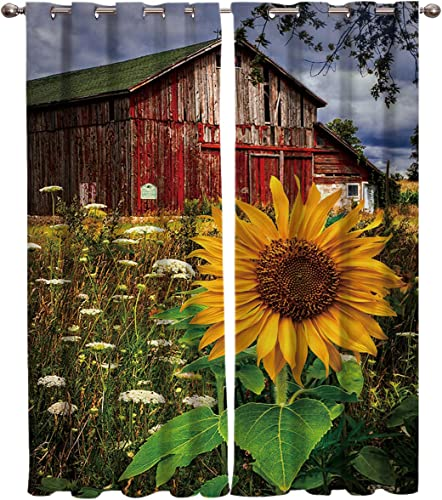 Blackout Curtains Thermal Insulated Farm Sunflower Grass Plant Wild Room Drapes Window Curtain