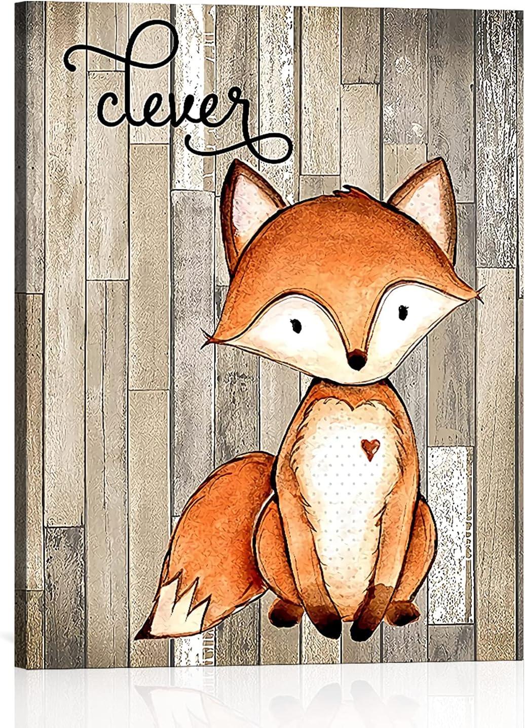 Woodland Animal Nursery Art Print, Adorable Fox Canvas Wall Art Painting, Modern Rustic Farmhouse Decor Ready to Hang, Boys Room Decorations for Bedroom (Unframed, 12