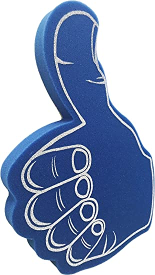giant thumbs up foam hand blue amazon co uk toys games
