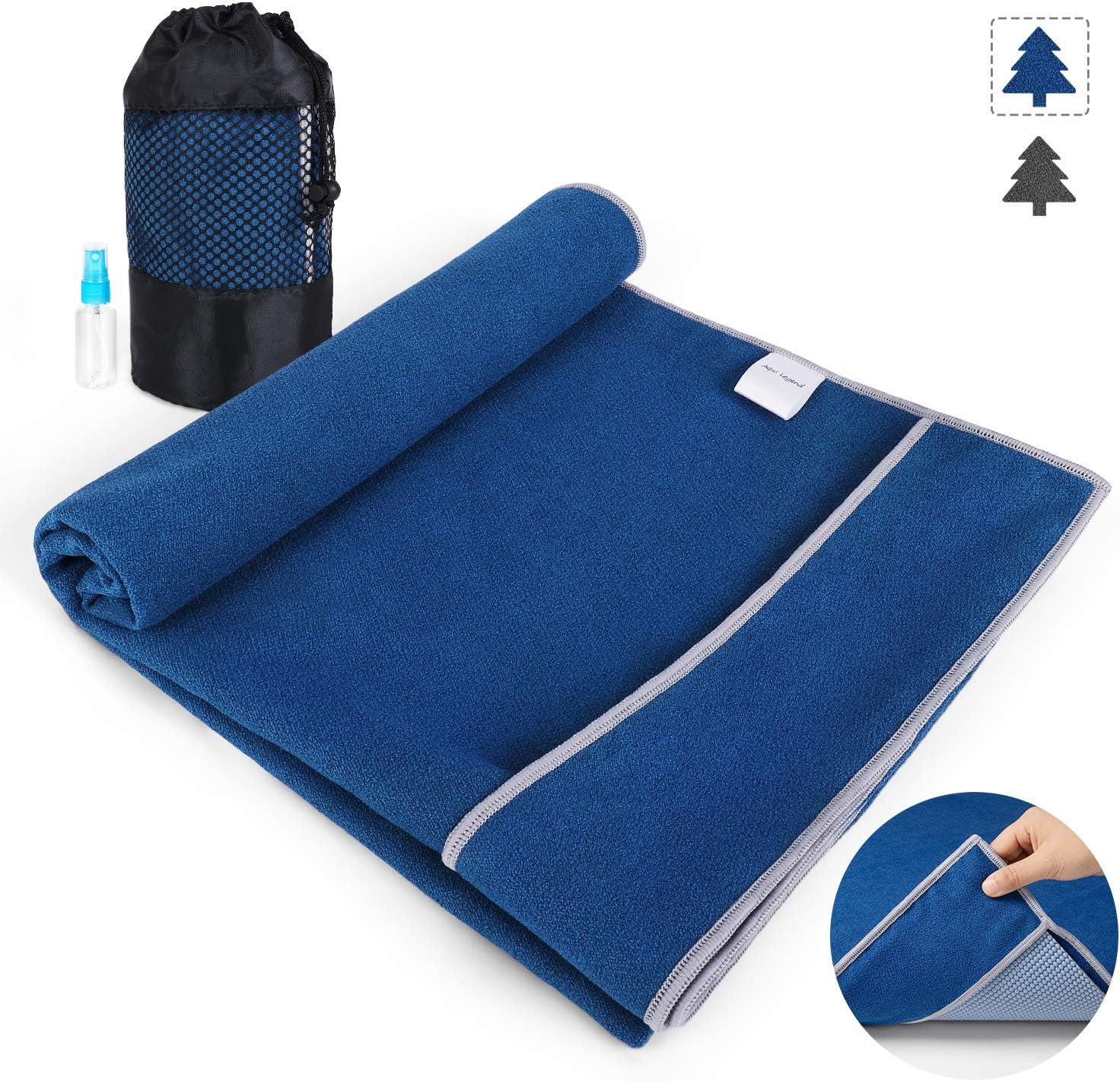 Aqui Legend Non Slip Hot Yoga Towel, Corner Pockets Design for Prevent Bunching-Extra Thick,Super Absorbent,Washable| Perfect Microfiber Yoga Mat ...
