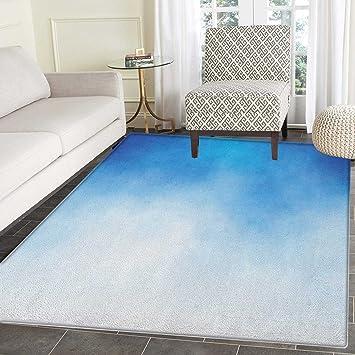 Amazon Com Blue Area Rug Carpet White Cloud Detail In Clear