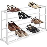 Whitmor, 4 Tier, 20 Pair Floor Shoe Rack, White