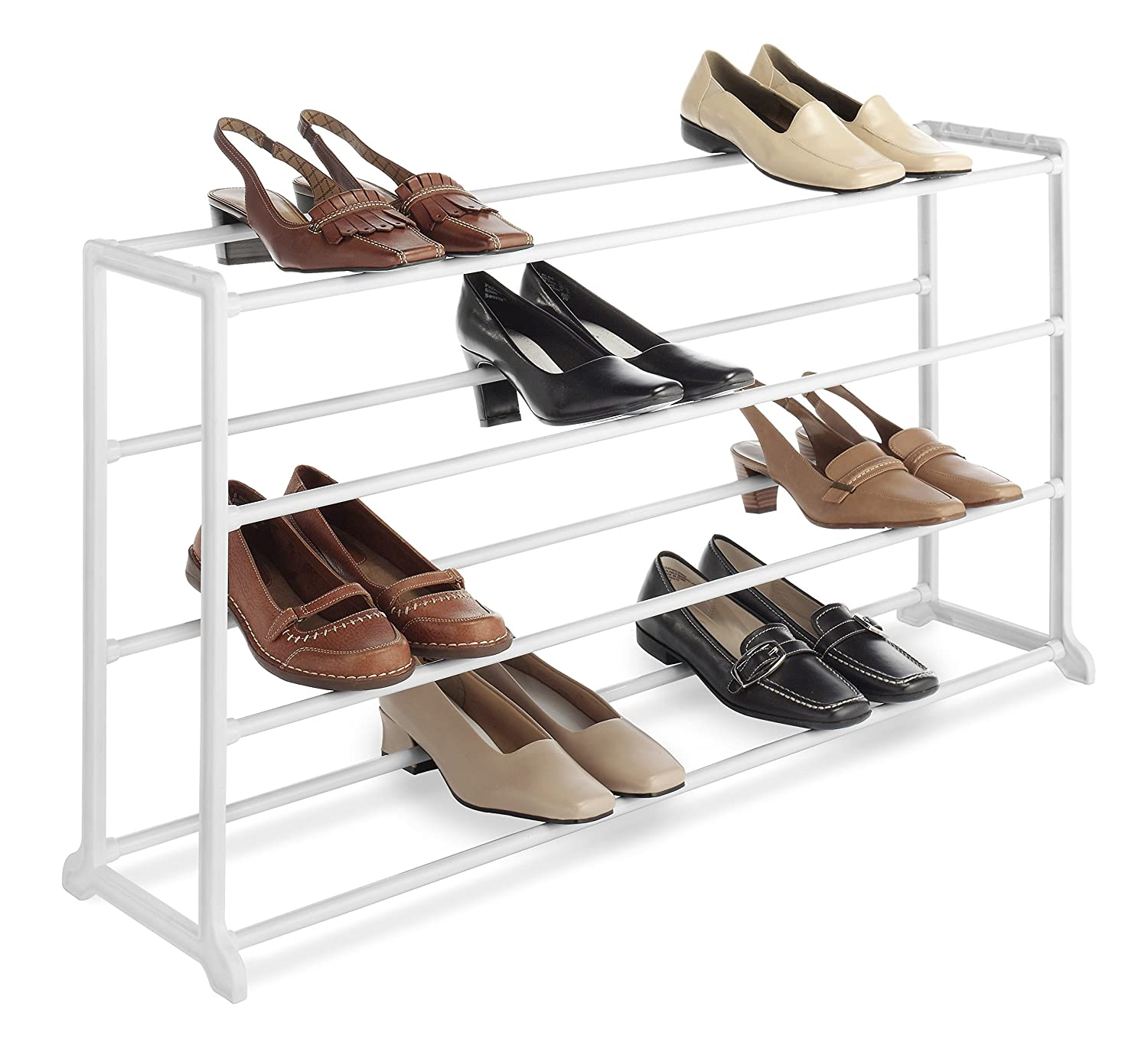 Whitmor 20 Pair Floor Shoe Rack White
