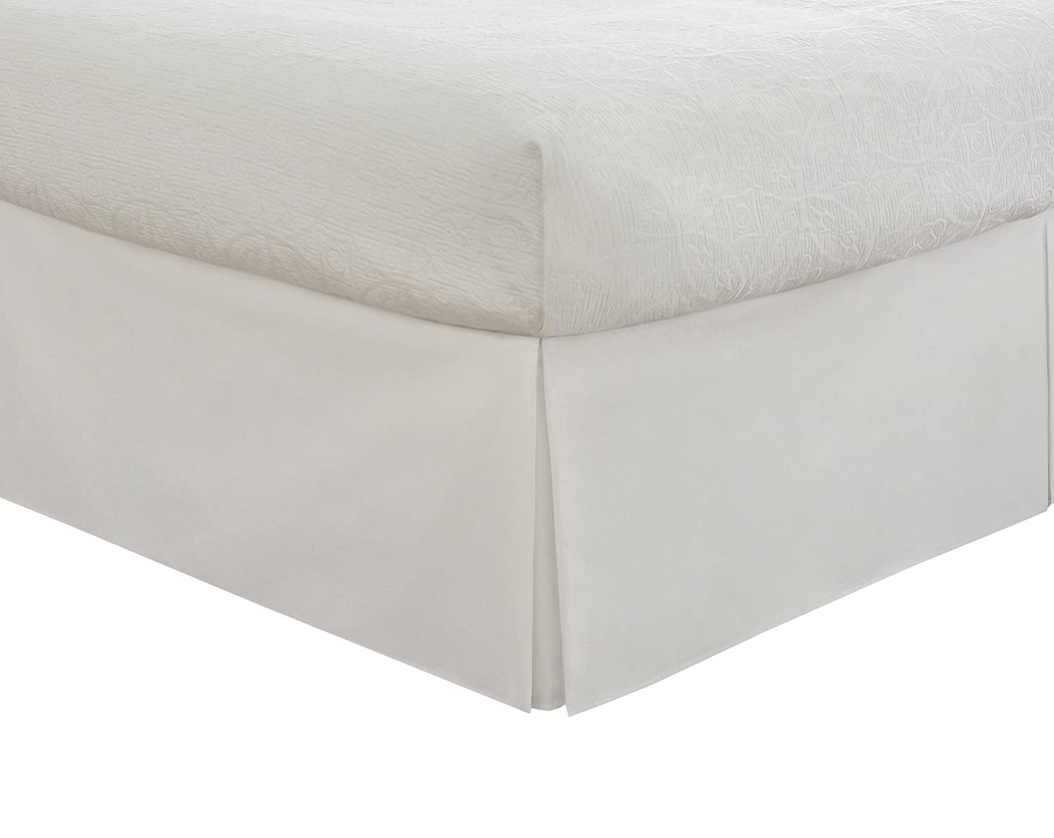 """Lux Hotel Bedding Tailored Bed Skirt, Classic 14"""" Drop Length, Pleated Styling, Twin, White"""